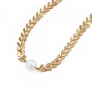 """Gold Pearl Arrow Chain Choker Necklace 14.75"""" - 200/Lot"""