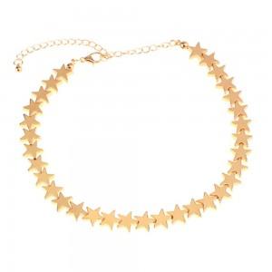 "Gold Stars Chain Choker Necklace 14.75"" - 70/Lot"