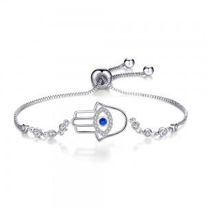 """Silver Devil's Eye Slider Bracelet 9"""" - 100/Lot"""