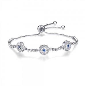 "Silver Luxury Micro-Inlaid Blue Eyes Slider Bracelet 9"" - 70/Lot"