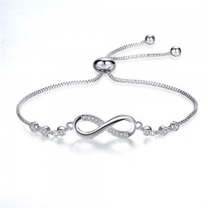 "Adjustable Infinity Slider Bracelet in Silver 9"" - 100/Lot"