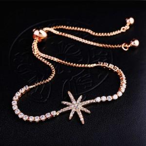 "Sparkly Rhinestone Star Slider Bracelet in Gold 9.75"" - 70/Lot"