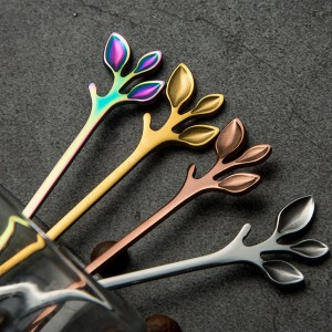 "Colorful Stainless Steel Branch Handle Beverage Mixing Spoons - 300/Lot (12cm x 2.3cm/4.5"" x 0.75"")"