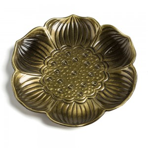 "Green Lotus Alloy Tea Coasters for Drinks - 100 pcs/Lot (8.5cm x 8.5cm/3.25"" x 3.25"")"