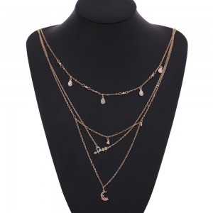 Gold Geometric Moon Crystal Drops Layered Necklace - 100/Lot