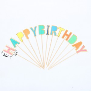 Colorful Birthday Letters Party Theme Food Picks 100Packs/Lot (13pieces/pack)
