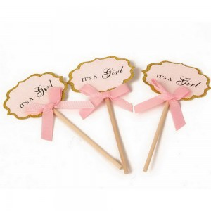 Pink It's a Girl Celebration Sign Food Picks 900Pieces/Lot