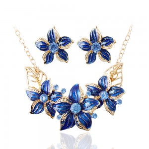 "Blue Flowers Statement Necklace and Earrings 15.5"" - 100/Lot"