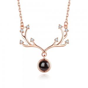 "Rose Gold Rhinestone Reindeer Antlers Short Pendant Necklace 17.5"" - 40/Lot"