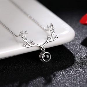 "Silver Rhinestone Reindeer Antlers Short Pendant Necklace 17.5"" - 40/Lot"