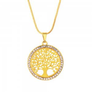 """Gold Tree of Life Long Pendant Necklace 19.5"""" - 100/Lot"""