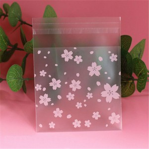 Pink Flower Printed Self Adhesive Cookie Bags (2.75 inches x 2.75 inches + 1 inch adhesive) [10,000 Bags/Lot]