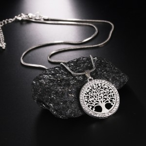 """Silver Tree of Life Long Pendant Necklace 19.5"""" - 100/Lot"""