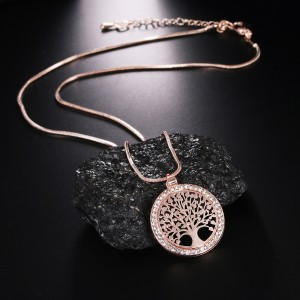"""Rose Gold Tree of Life Long Pendant Necklace 19.5"""" - 100/Lot"""