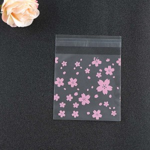 Pink Flower Self Adhesive Bakery Treat Bags (5.5 inches x 5.5 inches + 1 inch adhesive) [5,000 Bags/Lot]