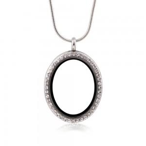 "Silver Rhinestone Circle Locket Necklace 1.25"" x 1"" - 100/Lot"