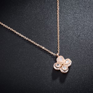 """Rose Gold Material Diamond-Encrusted Flower Statement Necklace 17.5"""" - 60/Lot"""