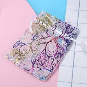 Colorful Pattern Tree Branches Print White Organza Bag (3.75 inches x 5.75 inches) [1,100 Bags/Lot]