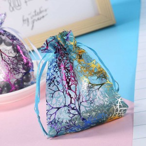 Blue Organza Favor Bag with Rainbow Dendrite Pattern (2.75 inches x 3.5 inches) [1.700 Bags/Lot]