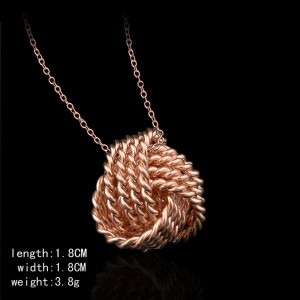 "Rose Gold Mesh Ball Knot Locket Necklace 17.5"" - 100/Lot"