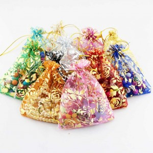 Rose Print Design Colorful Organza Bags with Drawstring (2.75 inches x 3.75 inches) [5000 Bags/Lot]