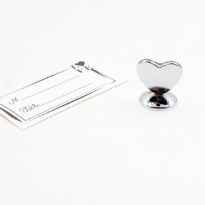 Silver Alloy Shiny Heart Place Card Holders 300 Pieces/Lot