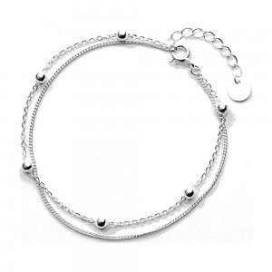 """Silver Material Double-Layered Beaded Chain & Link Bracelet 7.25"""" - 80/Lot"""