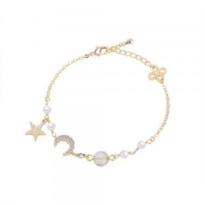 "Gold Bohemian Star Moon Chain & Link Bracelet 7.25"" - 70/Lot"