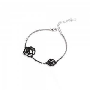 "Black & Silver Material Lotus Flower Chain & Link Bracelet 7.25"" - 50/Lot"
