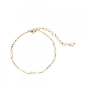 "Gold Pearls Chain & Link Bracelet 7.25"" - 70/Lot"