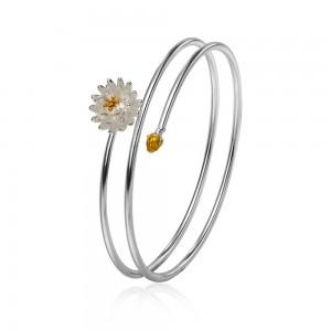 "Silver Flower Bangle Bracelet 7"" - 100/Lot"