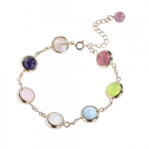 """Gold Chain with Colorful Beaded Charm Bracelet 7"""" - 50/Lot"""