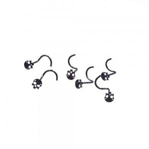 "Skull Nose Piercing Jewelry in Black 0.25"" x 0.025"" - 500/lot"