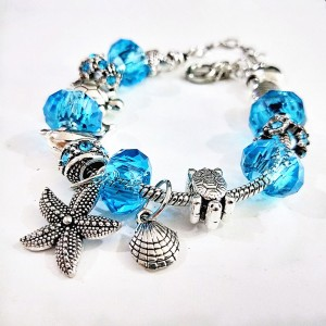 "Blue Ocean Sea Animal Charm Bracelet 10.5"" - 60/Lot"
