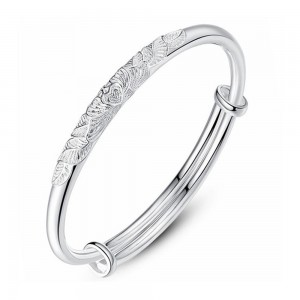 "Silver Floral Heart Bangle Bracelet 2.25"" - 100/Lot"
