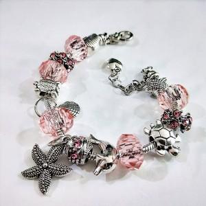 "Pink Marine Life Charm Bracelet 10.5"" - 60/Lot"