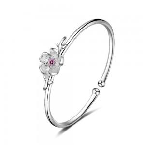 Silver Adjustable Sakura Cherry Blossom Flower Cuff Bracelet - 100/Lot