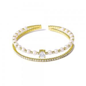 Gold Double-Tiered Rhinestone Pearls Cuff Bracelet - 40/Lot
