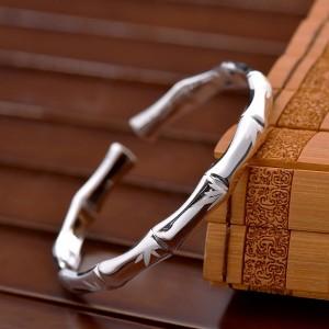 "Silver Bamboo Cuff Bracelet 2"" - 100/Lot"
