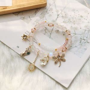 Pink Beaded Nature Trinkets Charm Bracelet - 80/Lot