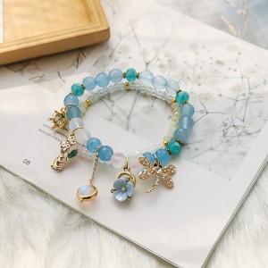 Blue Beaded Nature Trinkets Charm Bracelet - 80/Lot