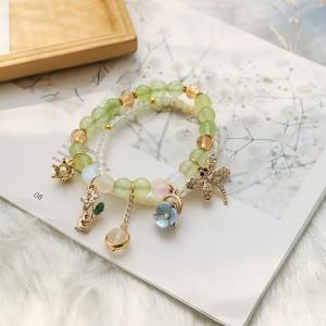 Green Beaded Nature Trinkets Charm Bracelet - 80/Lot