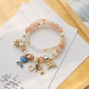 Pink Double-Layered Beaded Bunny Trinkets Charm Bracelet - 80/Lot
