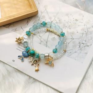 Blue Double-Layered Beaded Bunny Trinkets Charm Bracelet - 80/Lot