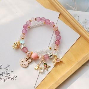 Pink & Purple Double-Layered Beaded Bunny Trinkets Charm Bracelet - 80/Lot