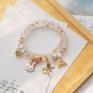 Light Pink Double-Layered Beaded Bunny Trinkets Charm Bracelet - 80/Lot
