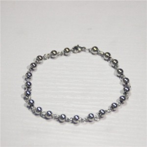 "Silver Stainless Steel Small Chain Beaded Bracelet 8.25"" - 100/Lot"