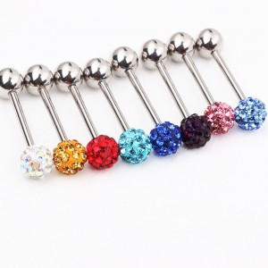 "Multi-Color Stainless Steel Sparkly One-Sided Disco Rhinestone Barbell Tongue Piercing Jewelry 0.5"" - 200/Lot"