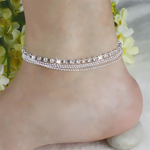 """Silver Layered Beads Rhinestone Beach Anklet 8.5"""" - 100/Lot"""