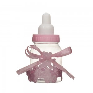 Pink Plastic Baby Bottle with Ribbon for Party Favors (1.5 inches x 3.5 inches) [180 Bottles/Lot]